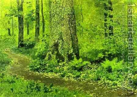 Footpath in a Forest Ferns 1895 by Isaak Ilyich Levitan - Reproduction Oil Painting