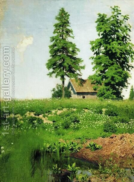 Small Hut in a Meadow Study by Isaak Ilyich Levitan - Reproduction Oil Painting