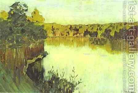Sunset over a Forest Lake Study 1890 1899 by Isaak Ilyich Levitan - Reproduction Oil Painting