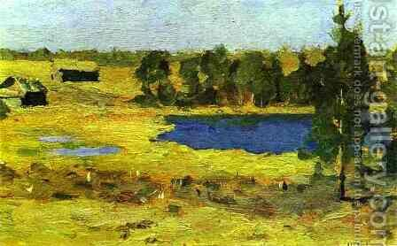 The Lake Barns at the Edge of a Forest 1898 1899 by Isaak Ilyich Levitan - Reproduction Oil Painting