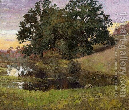 Hillside Pool 1900 by Arthur Wesley Dow - Reproduction Oil Painting