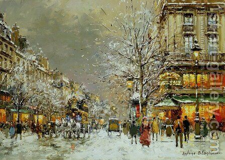 Boulevard des Capucines et Cafe de la Paix en Hiver by Agost Benkhard - Reproduction Oil Painting