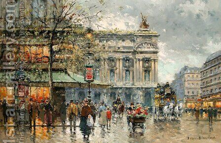Cafe de la Paix by Agost Benkhard - Reproduction Oil Painting