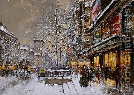 Grands Boulevard et Porte St Denis sous la Neige by Agost Benkhard - Reproduction Oil Painting