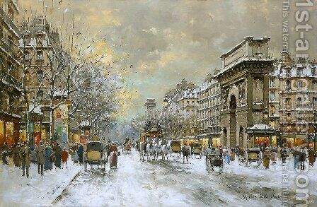 Les Grands Boulevards Porte St Martin and Porte St Denis by Agost Benkhard - Reproduction Oil Painting