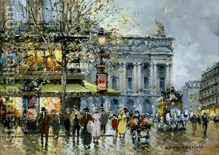 Place de l Opera Cafe de la Paix by Agost Benkhard - Reproduction Oil Painting