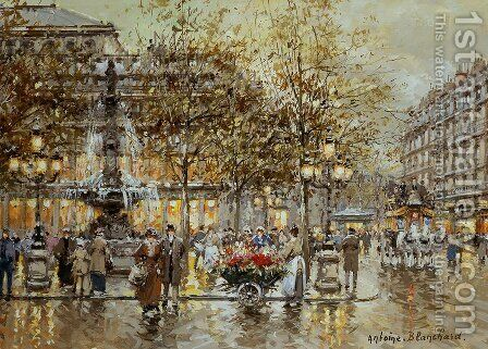 Place du Theatre de la Comedie by Agost Benkhard - Reproduction Oil Painting