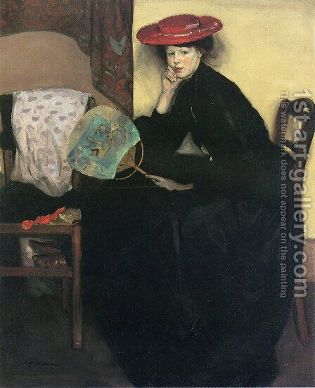 Model with a Japanese Fan Date unknown by Alfred Henry Maurer - Reproduction Oil Painting