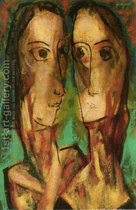 Two Heads 1928 by Alfred Henry Maurer - Reproduction Oil Painting