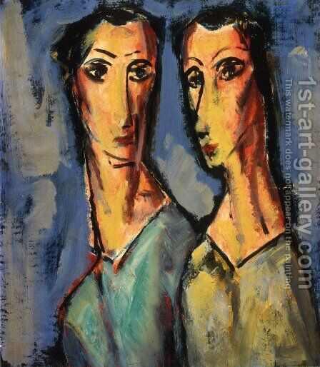 Two Heads 1928-1929 by Alfred Henry Maurer - Reproduction Oil Painting
