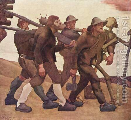 Der Totentanz von Anno Neun by Albin Egger-Lienz - Reproduction Oil Painting