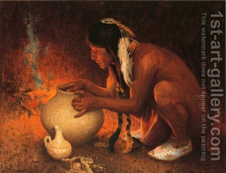 Making Pottery by Eanger Irving Couse - Reproduction Oil Painting