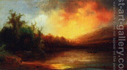 Lake Scene by Herman Fuechsel - Reproduction Oil Painting