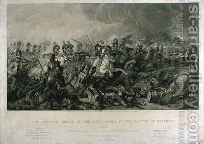 The Decisive Charge of the Life Guards at Waterloo in 1815 by (after) Clennell, Luke - Reproduction Oil Painting