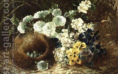 A Still Life of Flowers and a Birds Nest on a Mossy Bank by (after) Clare, Vincent - Reproduction Oil Painting