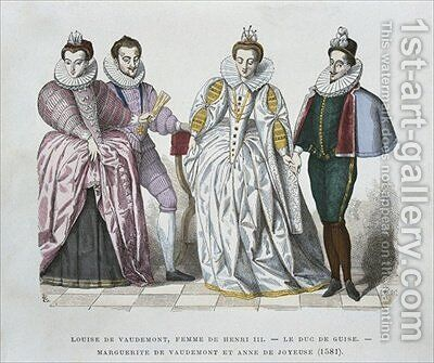Louise of Lorraine Vaudemont 1553-1601 wife of Henri III Duke of Guise 1549-88 Marguerite of Vaudemont 1564-1625 and Anne of Joyeuse 1561-87 by after Chevignard - Reproduction Oil Painting