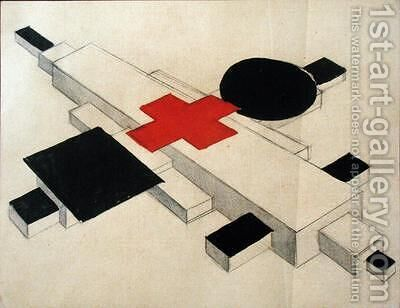 Design for a Suprematist architectural model by Ilya Grigorevich Chashnik - Reproduction Oil Painting