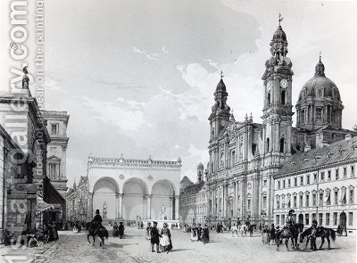Royal Palace Hall of Marshals and Church of the Theatines in Munich first half nineteenth century by (after) Chapuy, Nicolas Marie Joseph - Reproduction Oil Painting