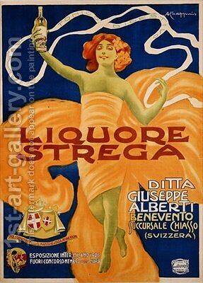 Poster advertising Strega liquer by Alberto Chappuis - Reproduction Oil Painting