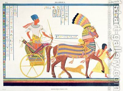 Pharaoh in a Chariot by (after) Champollion, Jean Francois - Reproduction Oil Painting