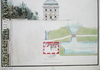 Plan and elevation of a hydraulic machine by Chambe - Reproduction Oil Painting