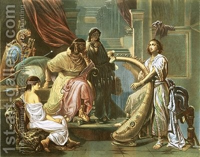 David playing the harp for Saul by (after) Cellarius, Andreas - Reproduction Oil Painting