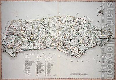 Map of Sussex by (after) Cary, John - Reproduction Oil Painting