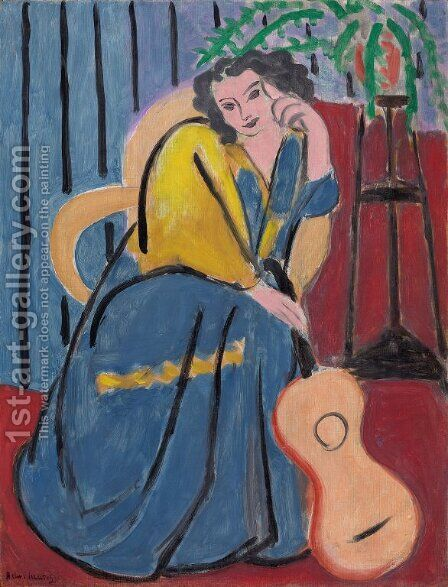 Girl in Yellow and Blue with Guitar by Henri Matisse - Reproduction Oil Painting