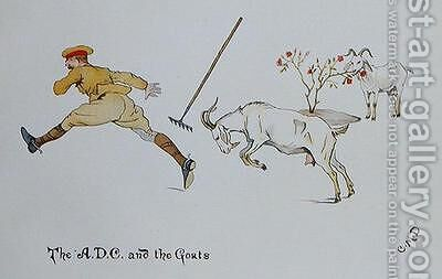 The A.D.C and the Goats by Captain Clive Dixon - Reproduction Oil Painting