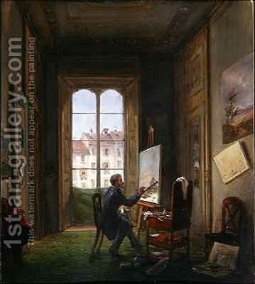 The painter Giuseppe Canella at work on a canvas in his studio by Carlo Canella - Reproduction Oil Painting