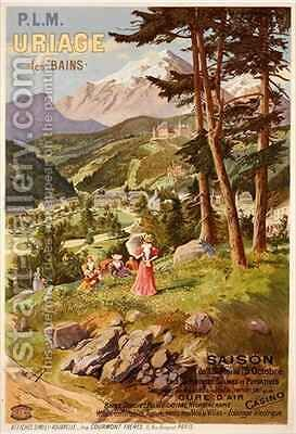 Poster advertising Uriage les Bains, Isere by Canconville - Reproduction Oil Painting