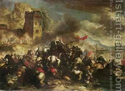 Cavalry skirmishes between Crusaders and Turks 2 by Antonio Calza - Reproduction Oil Painting