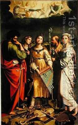 St. Cecilia surrounded by St. Paul, St. John the Evangelist, St. Augustine and Mary Magdalene by Denys Calvaert - Reproduction Oil Painting