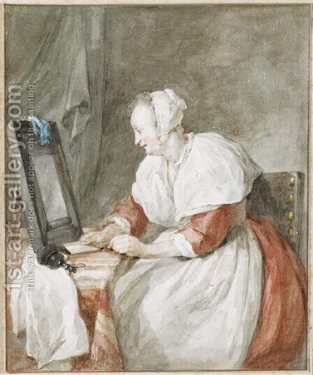A woman seated at a dressing table by Aert Schouman - Reproduction Oil Painting