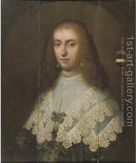 Portrait of a lady by (after) Dirck Dircksz. Santvoort - Reproduction Oil Painting