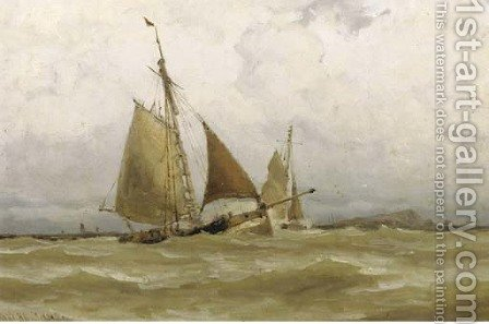In full sail by a coastline by Jacob Huijbrecht Hollestelle - Reproduction Oil Painting