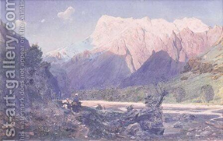 Ravine in the Caucasian Mountains by A. Freyman - Reproduction Oil Painting