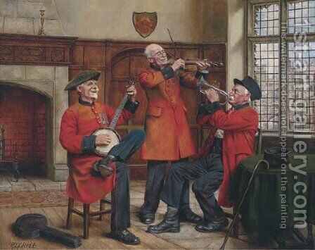 The Chelsea pensioners band practice by Arthur Longlands Grace - Reproduction Oil Painting