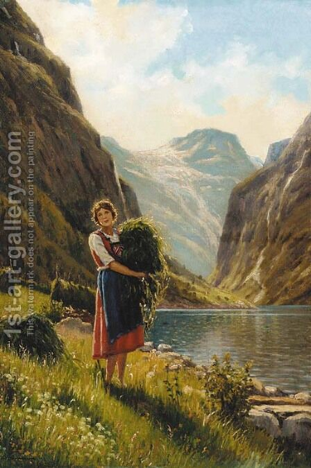 A young woman harvesting in a fjord scene by Adelsteen Normann - Reproduction Oil Painting