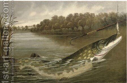 The hooked pike by A. Roland Knight - Reproduction Oil Painting