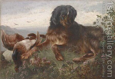 A gundog with a grouse by Alfred Dawson - Reproduction Oil Painting