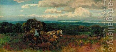 Farmers gathering bracken by A.C Wyatt - Reproduction Oil Painting