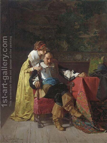 The comforting touch by A. Canella - Reproduction Oil Painting