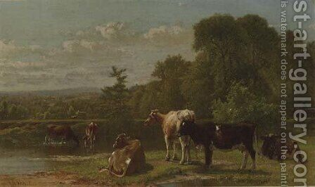 Cows at the River's Edge by Aaron Draper Shattuck - Reproduction Oil Painting