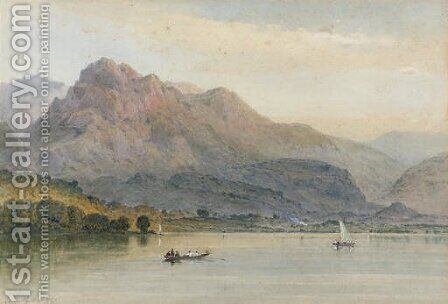 An extensive lake, India by Aaron Edwin Penley - Reproduction Oil Painting