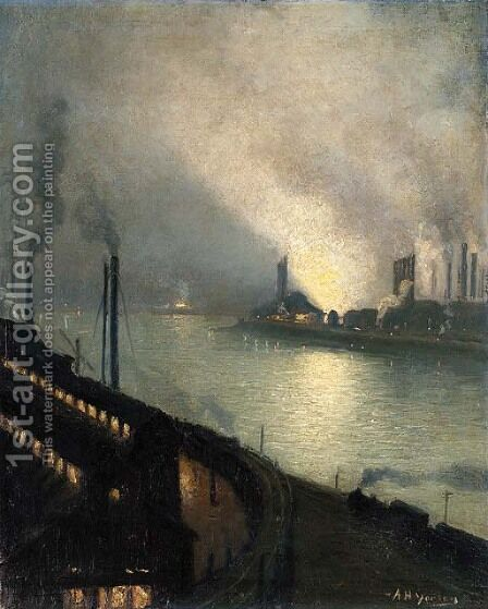Factories at Night 2 by Aaron Harry Gorson - Reproduction Oil Painting