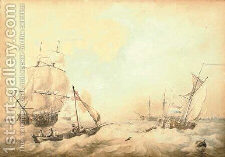 Shipping in a stiff breeze off the low countries by Aert Schouman - Reproduction Oil Painting