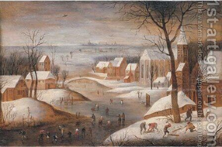 A wooded winter river landscape with a town, skaters and woodchoppers, another town beyond by Abel Grimmer - Reproduction Oil Painting
