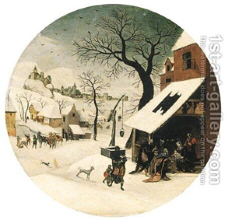 The Month of January A winter landscape with The Adoration of the Magi by Abel Grimmer - Reproduction Oil Painting