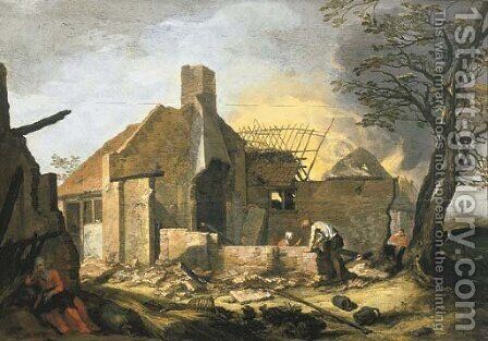 A landscape with farm buildings on fire by Abraham Bloemaert - Reproduction Oil Painting